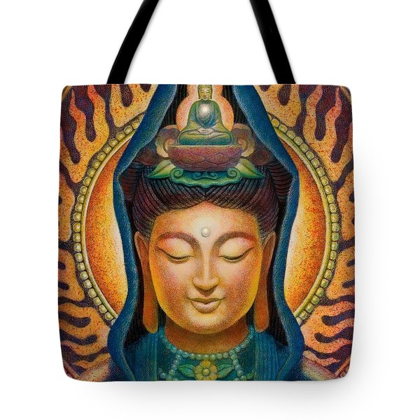 Kuan Yin Flame Tote Bag by Sue Halstenberg