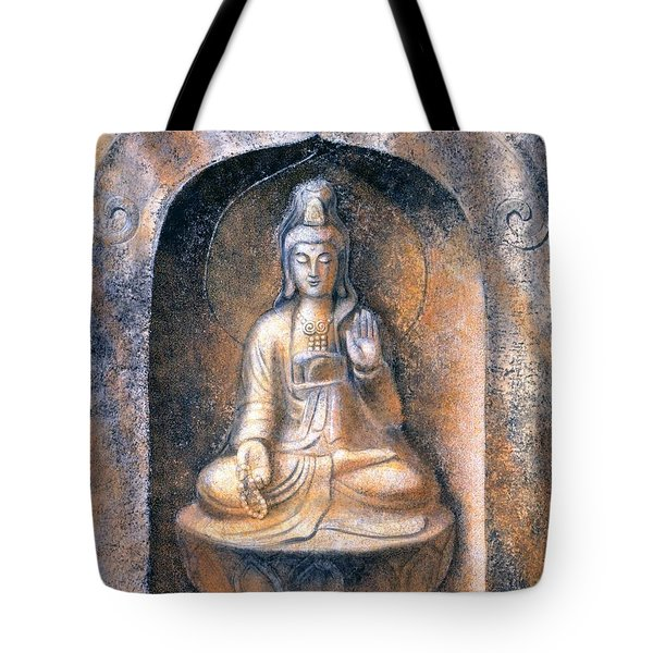 Tote Bag featuring the painting Kuan Yin Meditating by Sue Halstenberg
