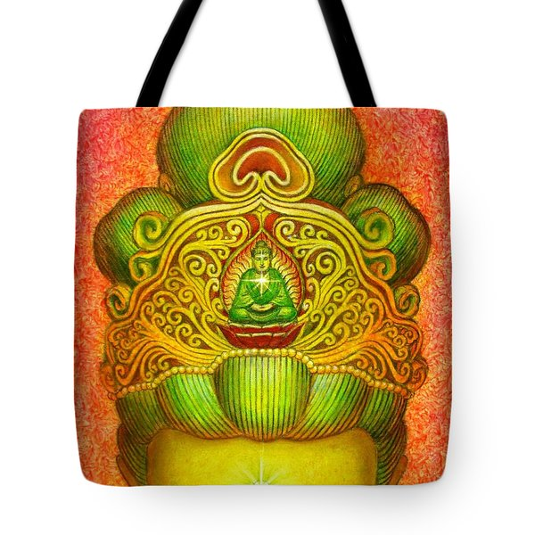 Tote Bag featuring the painting Kuan Yin's Buddha Crown by Sue Halstenberg