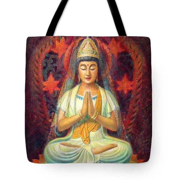 Tote Bag featuring the painting Kuan Yin's Prayer by Sue Halstenberg