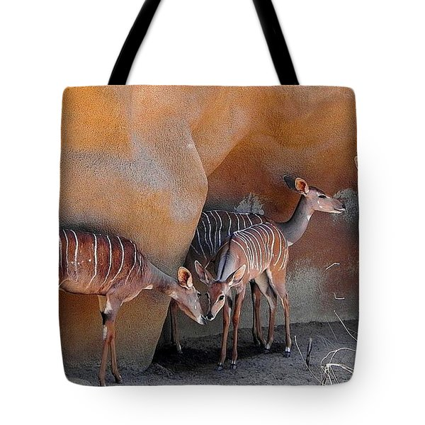 Tote Bag featuring the photograph Kudu Family Gathering by Peggy Stokes
