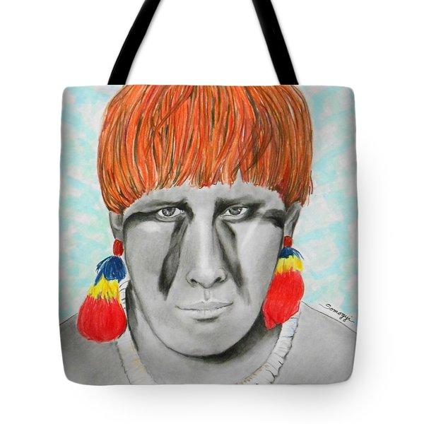 Kuikuro From Brazil -- Portrait Of South American Tribal Man Tote Bag