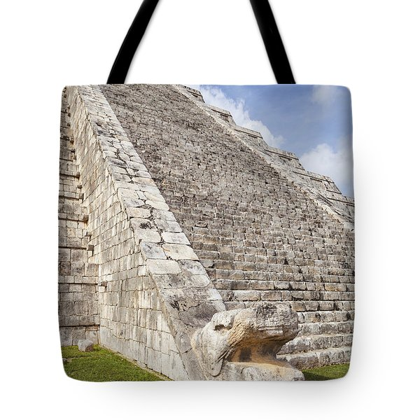 Tote Bag featuring the photograph Kukulkan Pyramid At Chichen Itza by Bryan Mullennix