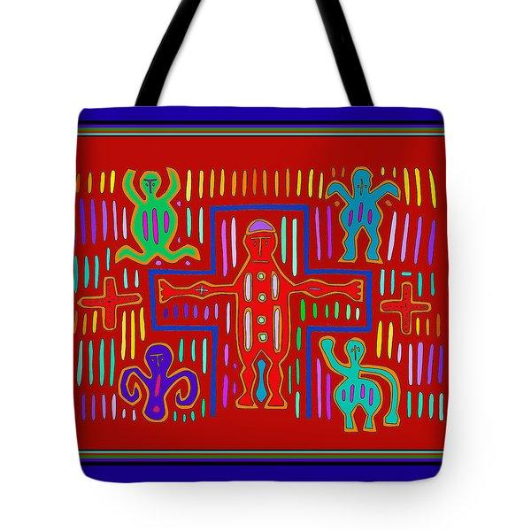 Tote Bag featuring the digital art Kuna Indian Mola Crucifix by Vagabond Folk Art - Virginia Vivier
