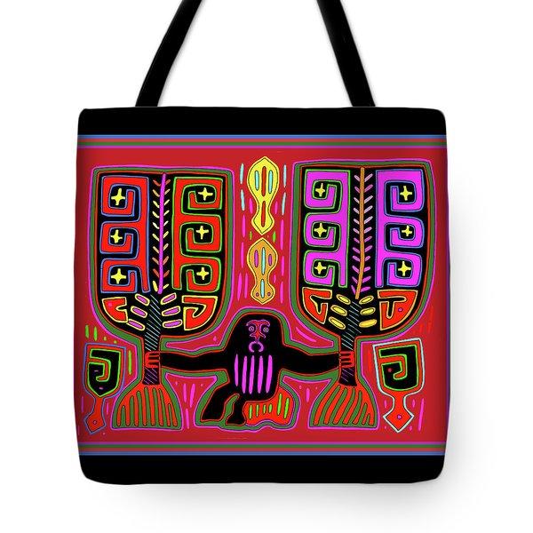 Tote Bag featuring the digital art Kuna Indian Mola Man With Fans by Vagabond Folk Art - Virginia Vivier