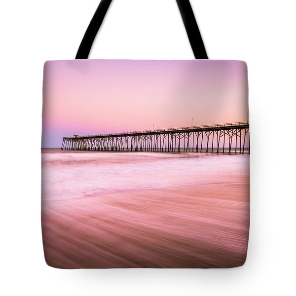 Tote Bag featuring the photograph Kure Beach Fishing Pier At Sunset by Ranjay Mitra