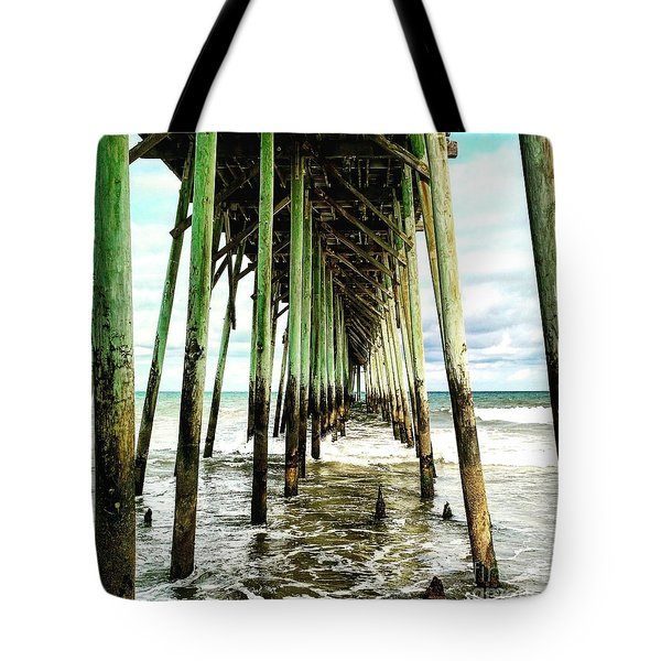 Tote Bag featuring the painting Kure Pier by Amy Sorrell