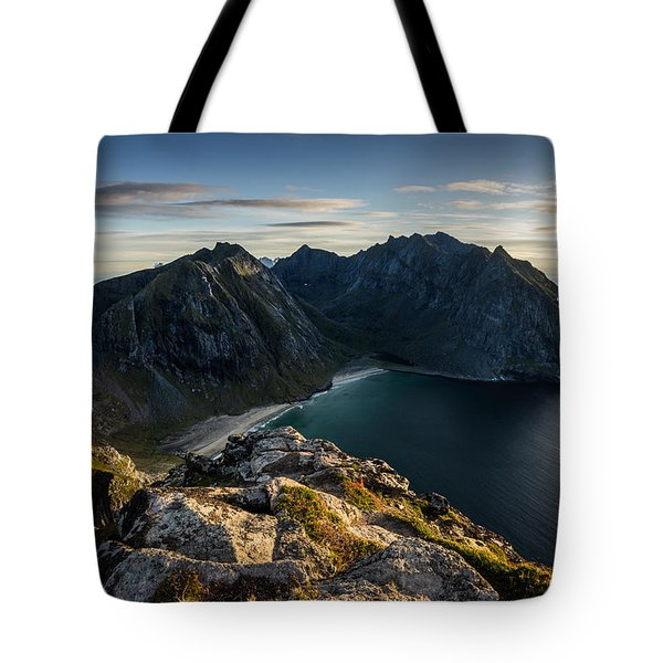 Tote Bag featuring the photograph Kvalvika Beach by James Billings