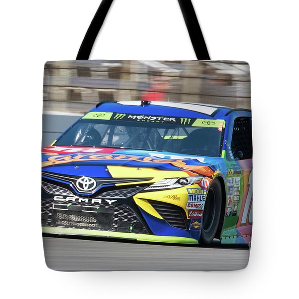 Kyle Busch Coming Out Of Turn 1 Tote Bag