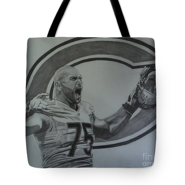 Tote Bag featuring the drawing Kyle Long Of The Chicago Bears by Melissa Goodrich