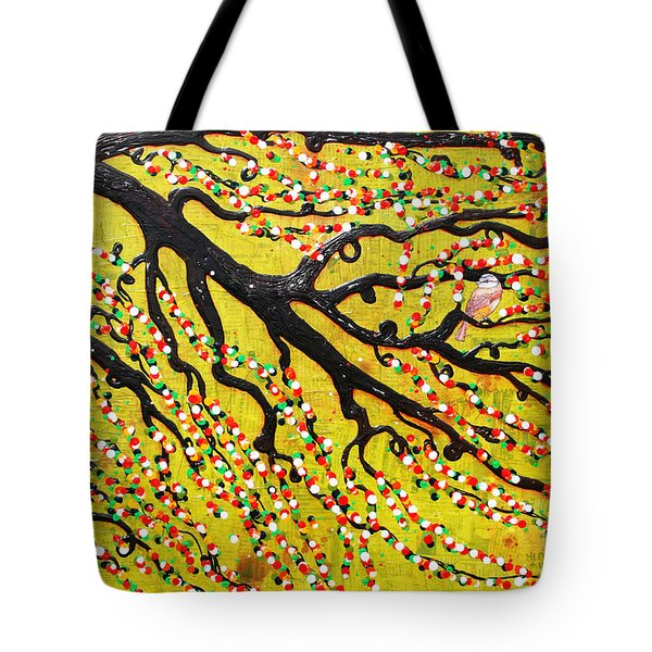 Tote Bag featuring the mixed media Kyoto Blossoms by Natalie Briney