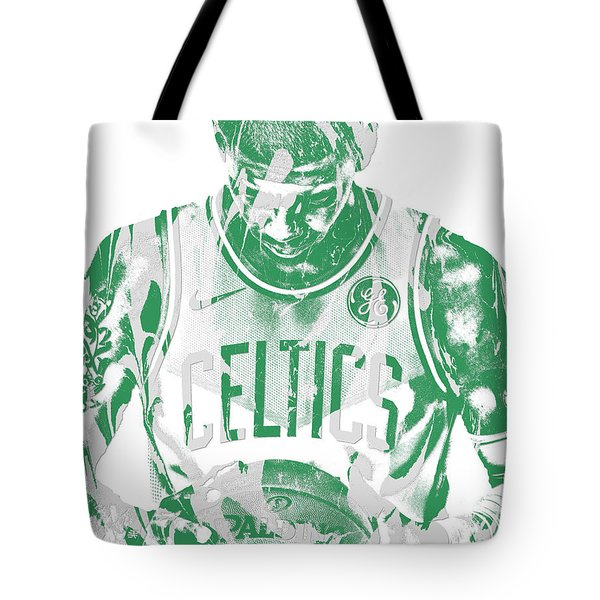 Kyrie Irving Boston Celtics Pixel Art 5 Tote Bag