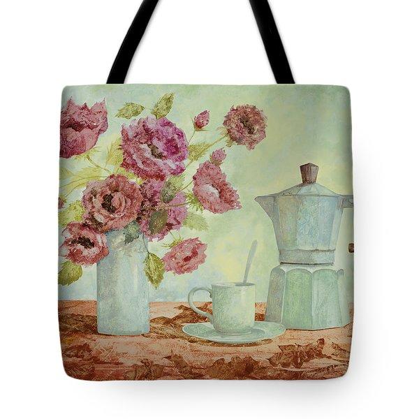 La Caffettiera E I Fiori Amaranto Tote Bag