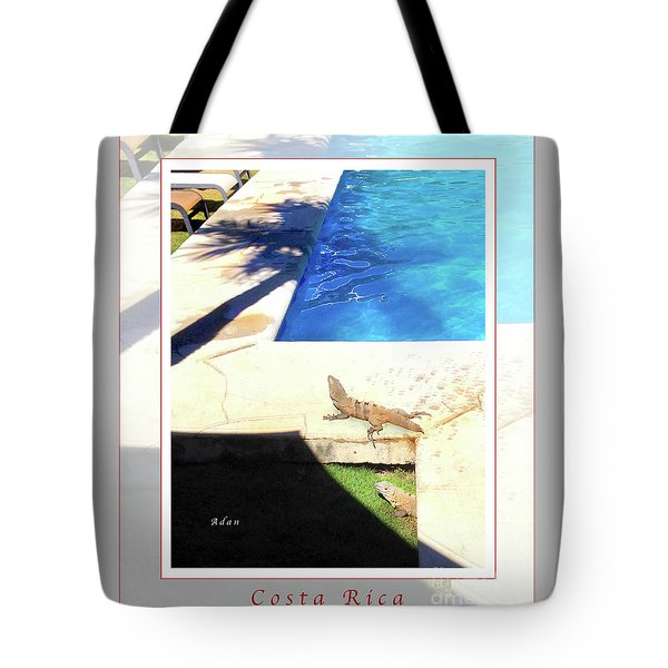 la Casita Playa Hermosa Puntarenas Costa Rica - Iguanas Poolside Greeting Card Poster Tote Bag by Felipe Adan Lerma
