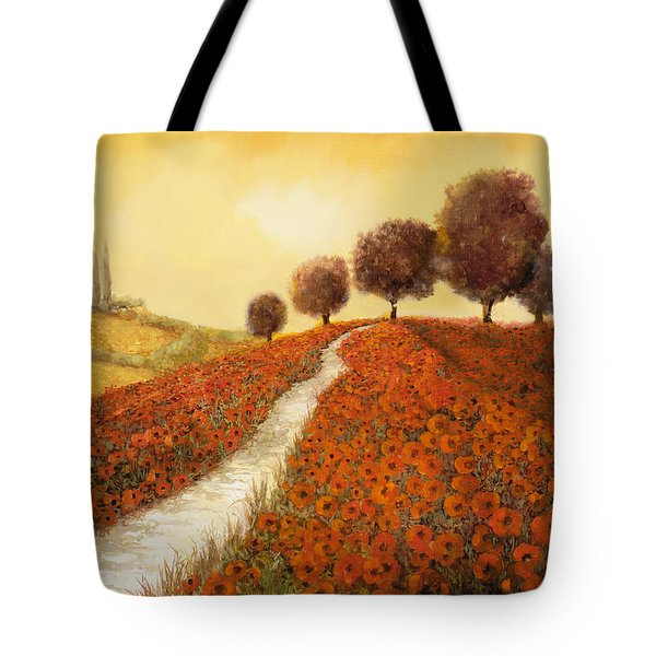 Tote Bag featuring the painting La Collina Dei Papaveri by Guido Borelli