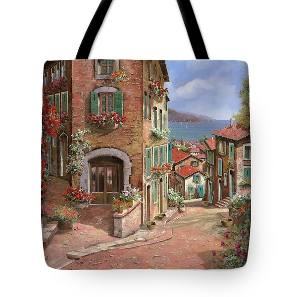 Tote Bag featuring the painting La Discesa Al Mare by Guido Borelli