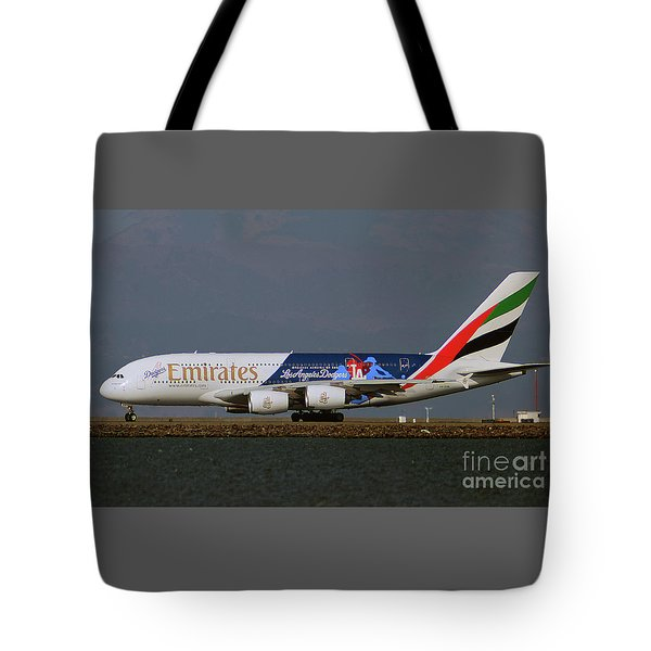 La Dodgers A380 Ready For Take-off At Sfo Tote Bag
