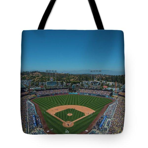 Tote Bag featuring the photograph La Dodgers Stadium Baseball 2087 by David Haskett