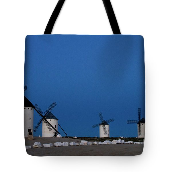 Tote Bag featuring the photograph La Mancha Windmills by Heiko Koehrer-Wagner