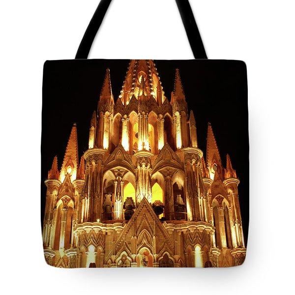 La Parroquia At Night San Miguel De Allende Mexico Tote Bag