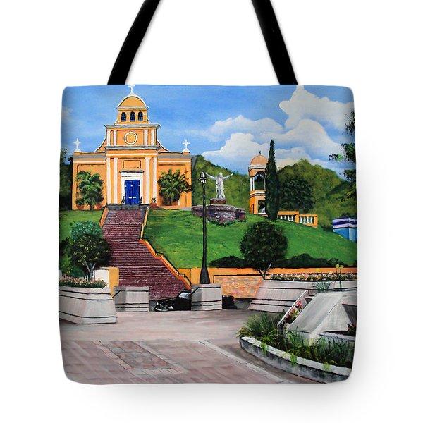 La Plaza De Moca Tote Bag by Luis F Rodriguez
