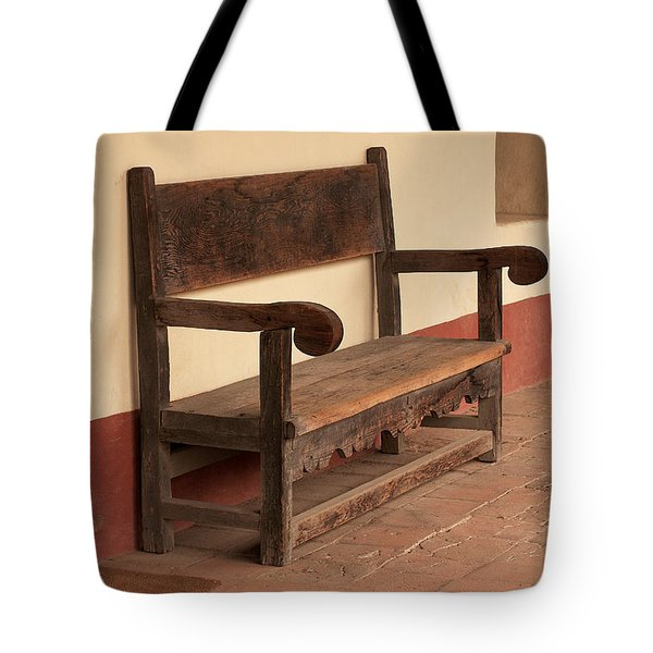 Tote Bag featuring the photograph La Purisima Mission Bench by Art Block Collections