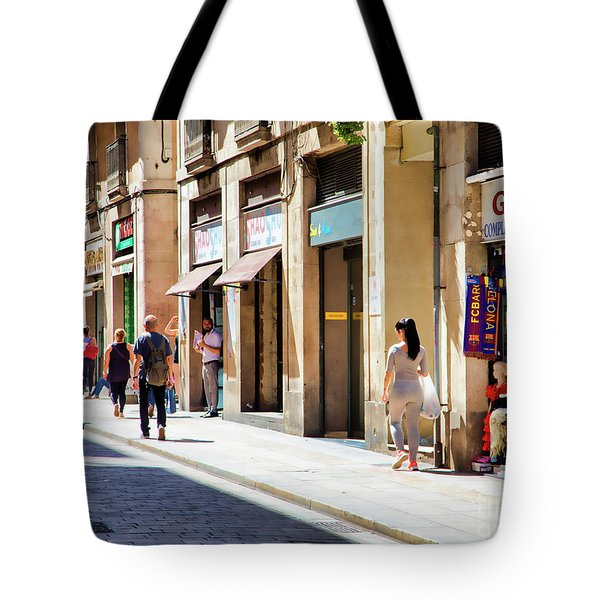 La Rambia Gothic Quarter People Streets  Barcelona Spain Life  Tote Bag
