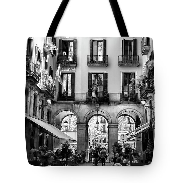 Gothic Quarter La Rambia Restaurant Spain Bw Barcelona  Tote Bag