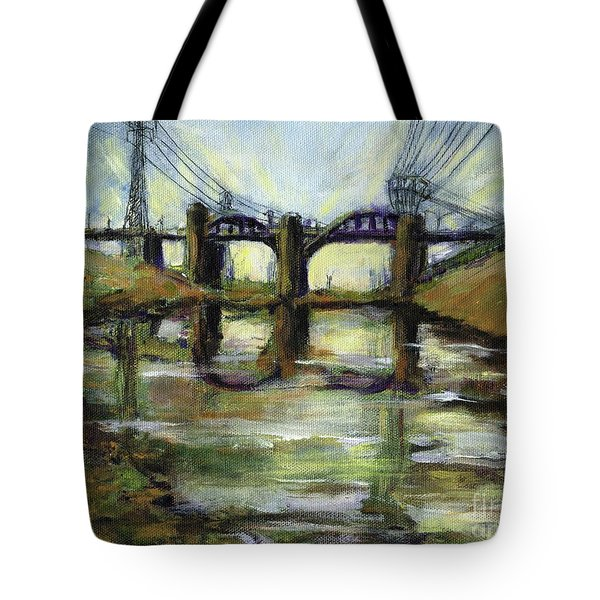 La River 6th Street Bidge Tote Bag by Randy Sprout