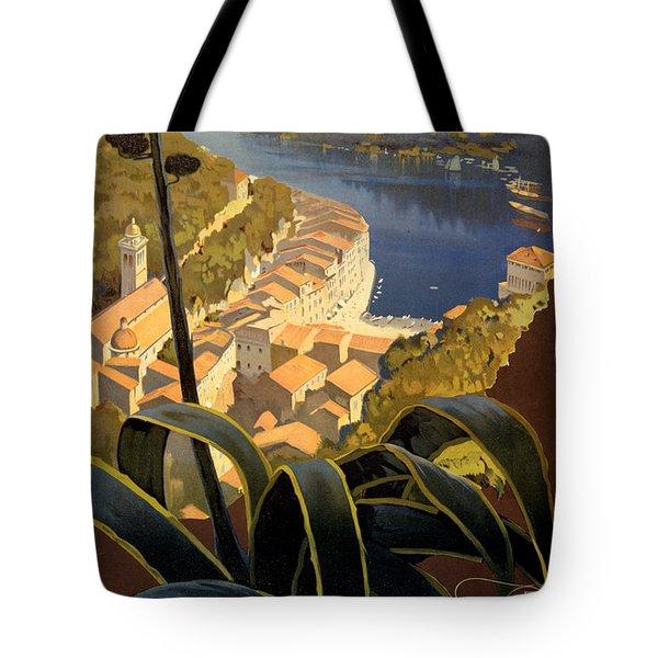 La Riviera Italienne Vintage Travel Poster Restored Tote Bag