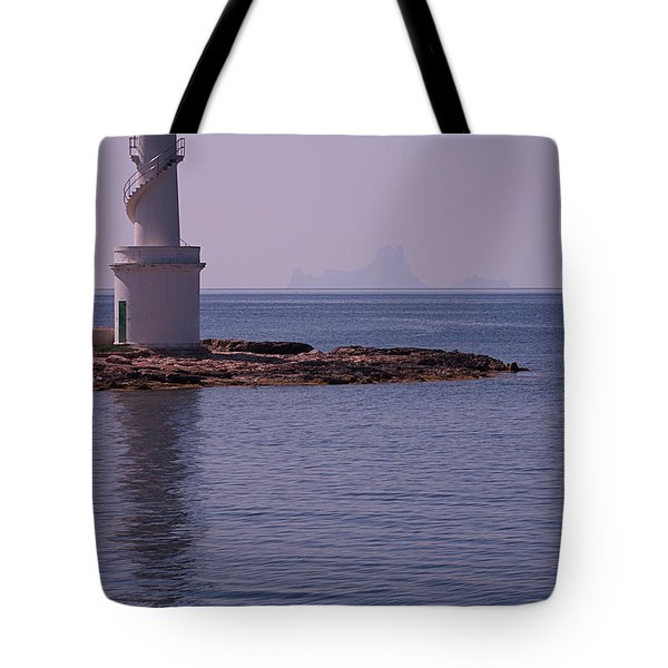 La Sabina Lighthouse Formentera And The Island Of Es Vedra Tote Bag