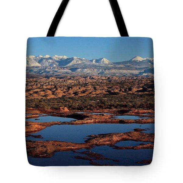 La Sal Mountains And Ephemeral Pools Tote Bag