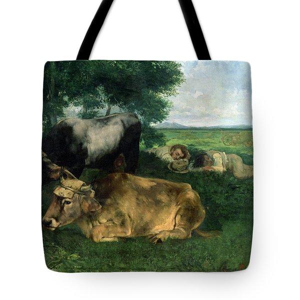 La Siesta Pendant La Saison Des Foins Tote Bag by Gustave Courbet
