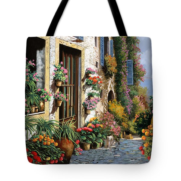 Tote Bag featuring the painting La Strada Del Lago by Guido Borelli