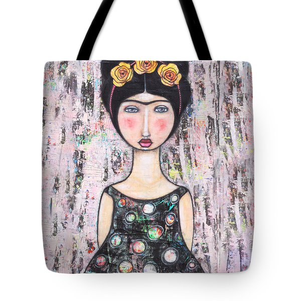 Tote Bag featuring the mixed media La-tina by Natalie Briney