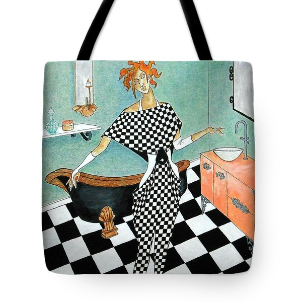 La Toilette -- Woman In Whimsical Art Deco Bathroom Tote Bag