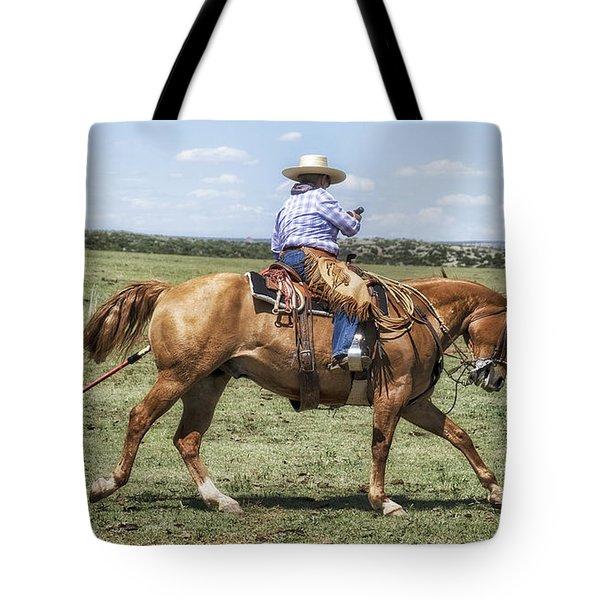 Tote Bag featuring the photograph La Vaquera Y La Garrocha by Karen Slagle