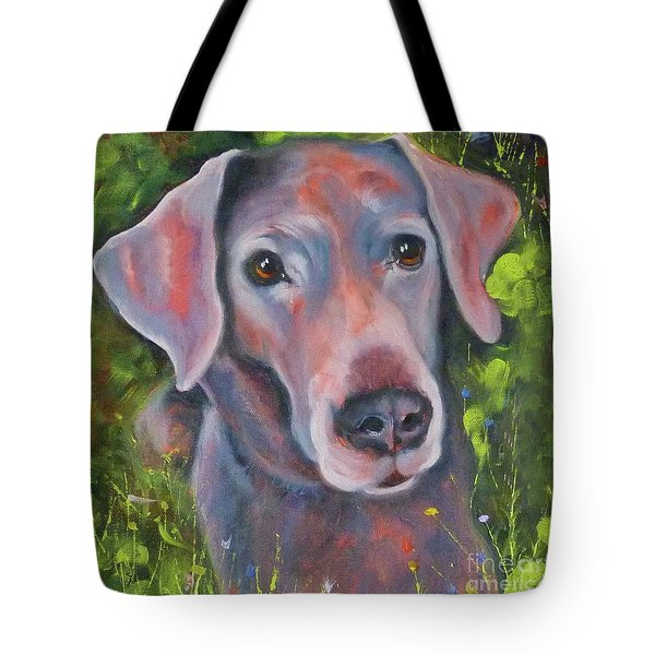 Lab In The Grass Tote Bag