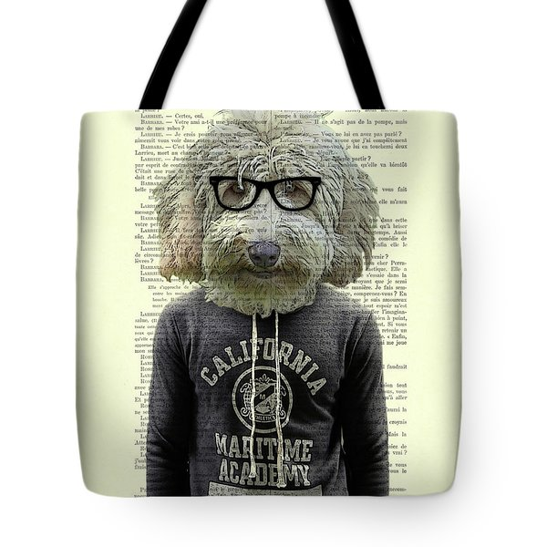 Labradoodle Dog Portrait Art Tote Bag