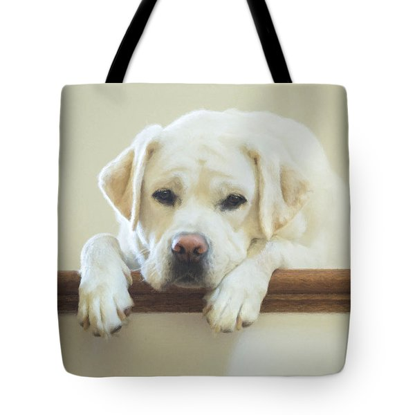 Labrador Retriever On The Stairs Tote Bag