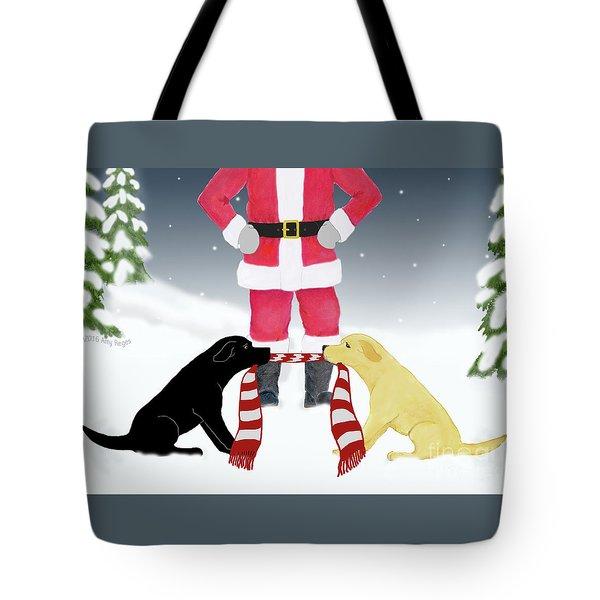 Labs Tug Santa Scarf Tote Bag