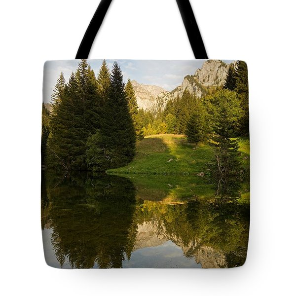 Lac De Fontaine Reflections Tote Bag
