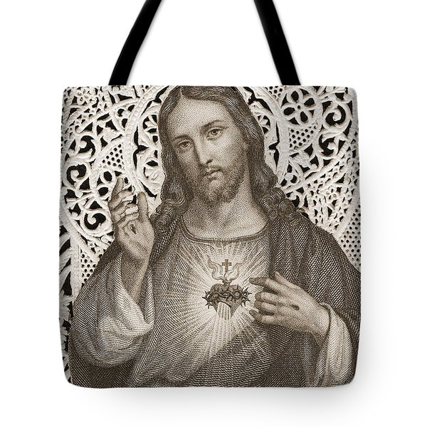 Lace Card Depicting The Sacred Heart Of Jesus Tote Bag
