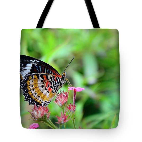 Tote Bag featuring the photograph Lace Wing Butterfly by Corinne Rhode