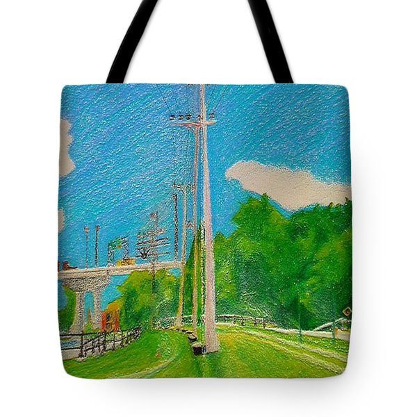 Lachine Canal Pencil Crayon Tote Bag