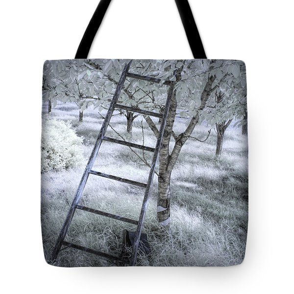 Ladder In A Cherry Orchard In Infrared Tote Bag
