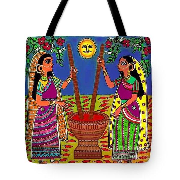 Ladies Crushing Chili Peppers Tote Bag by Latha Gokuldas Panicker