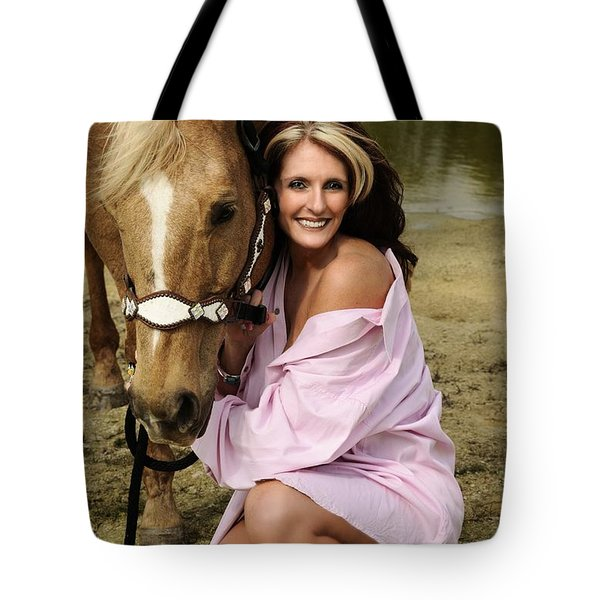Lady And Her Horse 2 Tote Bag