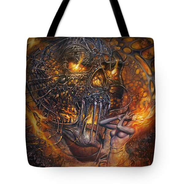 Lady And Skull Tote Bag