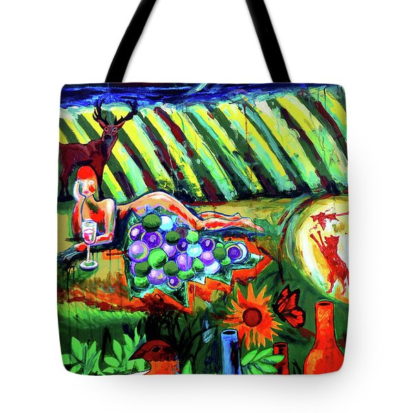Tote Bag featuring the painting Lady And The Grapes by Genevieve Esson